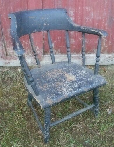 ANTIQUE 19th CENTURY LOWBACK FIREHOUSE WINDSOR ARMCHAIR