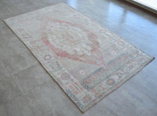 4x7 Rug Vintage Hand Made Distressed Area Rug Low Pile Oushak Rug 3′9″ x 6′8″