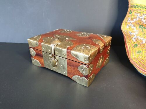 Old Chinese Silky Oak Men's Box with Brass Fittings …beautiful collection & Uniq