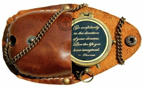 Go Confidently Brass Compass Engraved with Stamped Leather Case, Direction