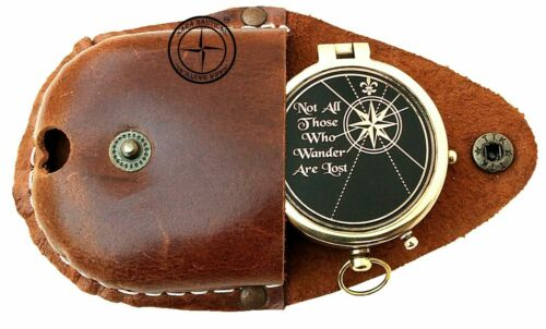 """""""Not All Those Who Wander Are Lost"""", Nautical Marine Camping Compass Engraved"""