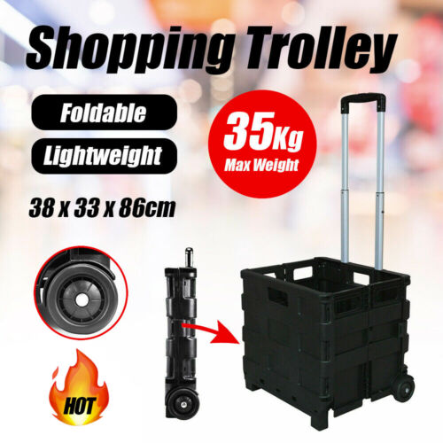 Grocery Basket Foldable Shopping Cart Trolley Pack & Roll Folding Crate Portable