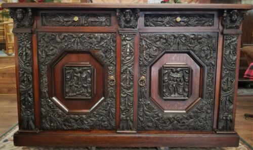 carved BUFFET, credenza,  sideboard, tiger oak, 19th C, Baroque, Renaissance,72w
