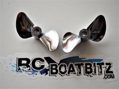 CHROME PLATED BRONZE pair Upgrade Props for Proboat Zelos 36, Miss Geico