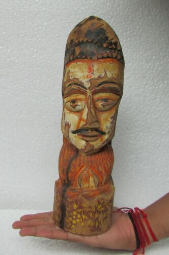 Vintage Old Hand Carved Painted Wooden Man Face Statue Sculpture Art Collectible