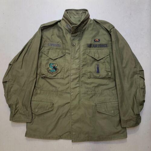 Vtg 80s Vietnam Us Army Military M-65 Field Coat Jacket W Patch Named Id'd Nice
