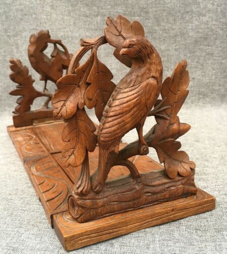 Antique black forest bookends book holder made of wood mid-1900's Germany bird