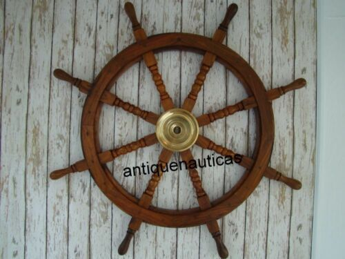 """Vintage 36"""" Wooden Ship Steering Wheel Brass Ring Wall Decor Nautical Antique"""