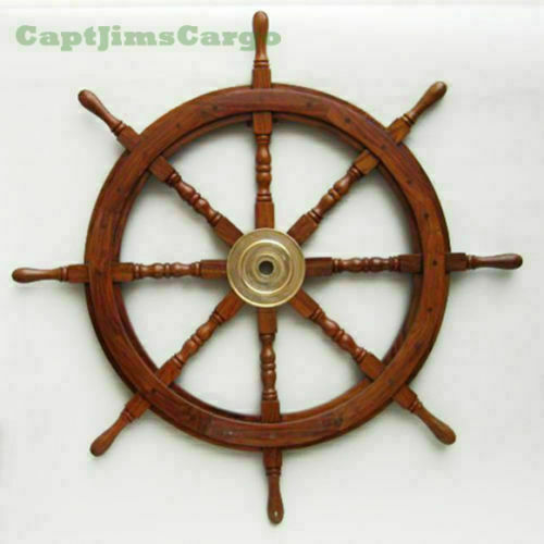 Collectible Wooden SHIP WHEEL Wall Brass Decor Look Brown Boat Steering 36 Inch
