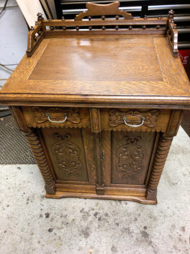 Oak  Sewing Machine Cabinet Converted To Wine Cabinet