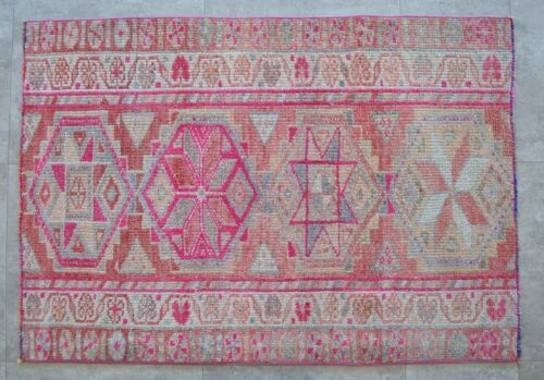 3x4 Rug Runner Kurdish Rug Hand Made Low Pile small Rug Actual 2.10x4.1 ft