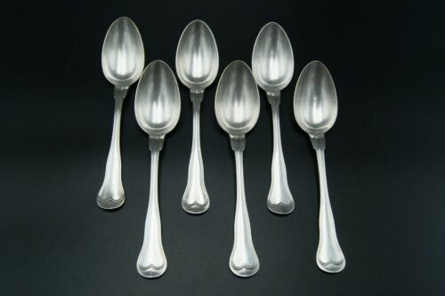 CHRISTOFLE OLD CHINON 6 DINNER SPOONS SILVERPLATED BRILLANT LUSTER MONOGR FRANCE