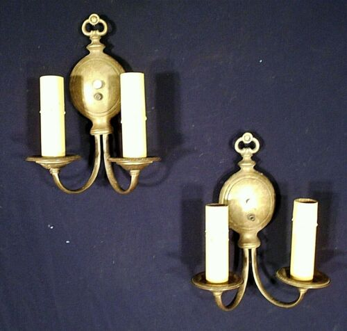 PAIR OF EARLY 20th CENTURY REGENCY DOUBLE ARM BRASS SCONCES