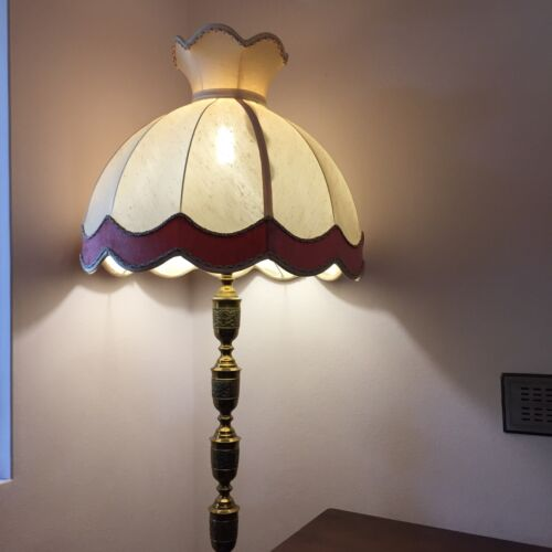 Vintage Brass Floor/Occasional Lamp With Lamp Shade In Used Condition(170cm H)