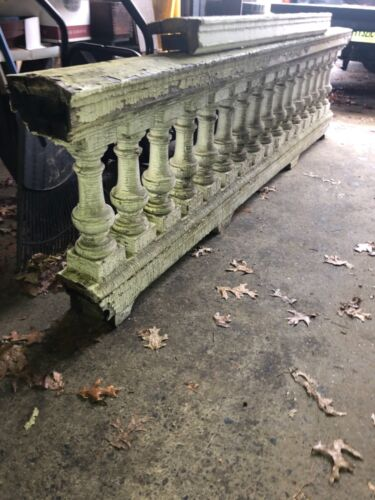 "c1890 porch balustrade 100"" x 27"" x 7.5"" HUGE BEEFY urn style spindle 15.5 x 5.5"
