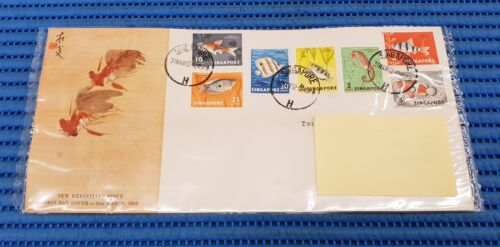 1962 Singapore First Day Cover New Definitive Issue: 2,4,5, 6, 10, 20 & 25 Cents