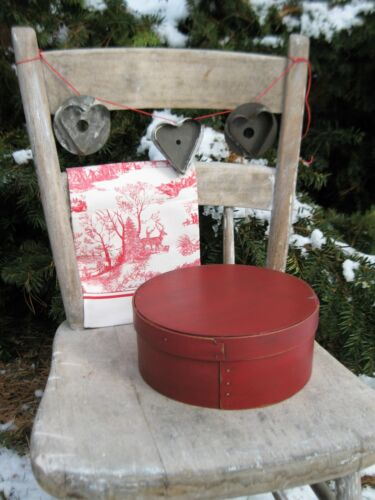 Antique Wood Pantry Box Red Milk Paint