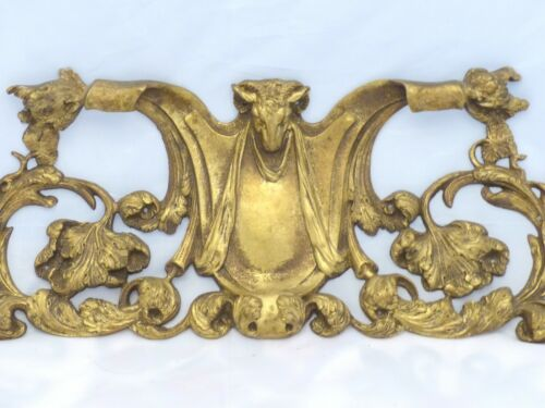 "15"" HUGE French Gilded Bronze RAM Louis XV Pediment Hardware Furniture Salvage"