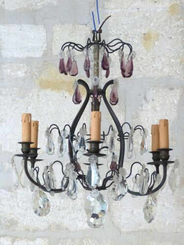 French Antique Cage Chandelier Crystal Purple Drops 6 Lights Late 19TH Brass