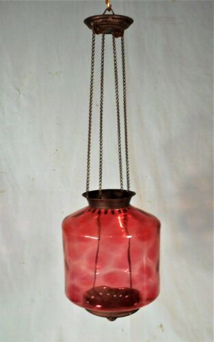 ANTIQUE VICTORIAN CRANBERRY GLASS HANGING CEILING LIGHT