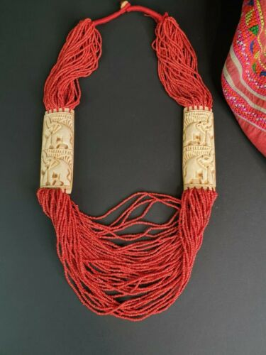 Old Indian Carved Oxen & Red Glass Beaded Necklace …beautiful collection and acc