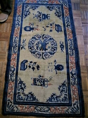 Antique Chinese Ningxia Ningshia rug with red dragons 3x6 (3'1x5'10) c. 1850