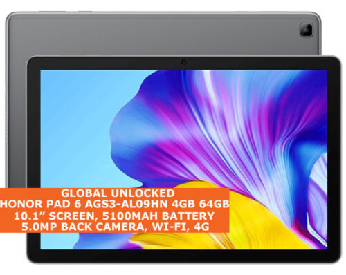 """HUAWEI HONOR PAD 6 AGS3-AL09HN 4gb 64gb Wi-Fi 10.1"""" 4g Lte Android 10 Tablet Pc"""