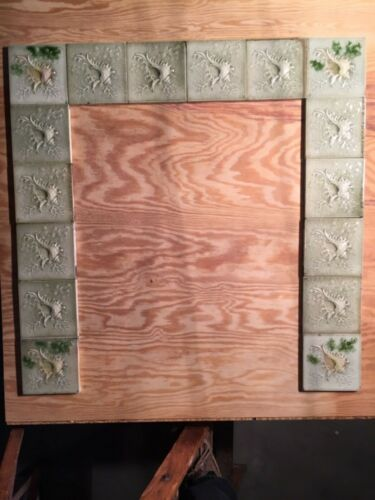 """16 AETCO Antique Victorian Embossed 6"""" & 124 Fireplace Tiles: Surround + Hearth"""