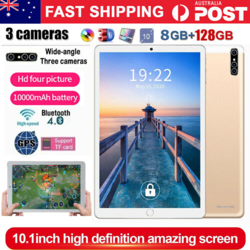 "10.1"" Inch Tablet PC HD Android 9.0 8+128GB WIFI Three Camera GPS Bluetooth AU"