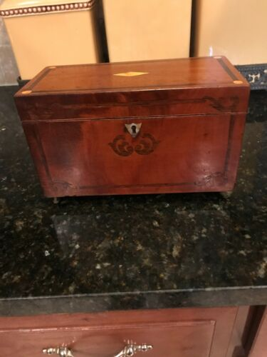18th Century Georgian Period English Mahogany Inlaid Tea Caddy