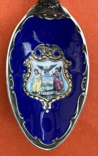 "ENAMEL 6-1/8"" LILIES FLOWER NEW YORK COAT OF ARMS STERLING SILVER SOUVENIR SPOON"