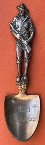 FIGURAL MARINE SOLDIER 1000 ISLANDS BRONZE NOT STERLING SILVER SOUVENIR SPOON