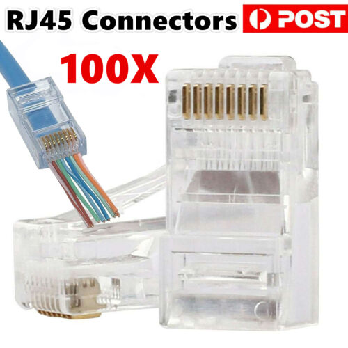 100x RJ45 Connector CAT 6 5 5e Plug Crimp 8P8C Network Ethernet Cable Modular