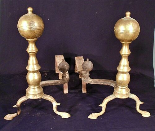 ANTIQUE PAIR 19th CENTURY AMERICAN FEDERAL BALL TOP RIGHT AND LEFT ANDIRONS