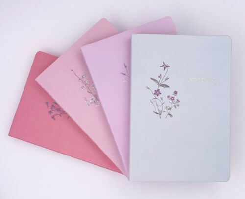 2021 Diary A5 Size Day to View 4 Assorted Colours 145mm x 214mm Flower Print