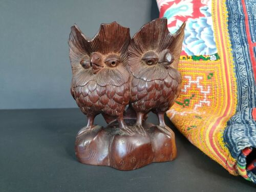 Old Carved Wooden Owls with Lots of Detail …beautiful collection and display pie