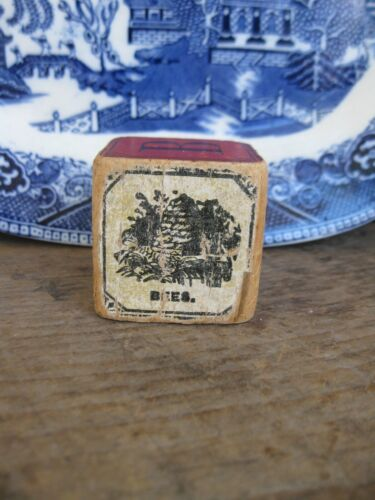 Early Antique Wood Toy Block Beehive Graphic