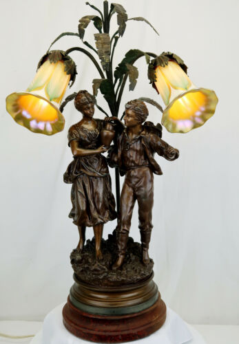 Rancoulet – Signed Spelter 2 Figure Victorian Era Newel Post/Table Lamp with Que