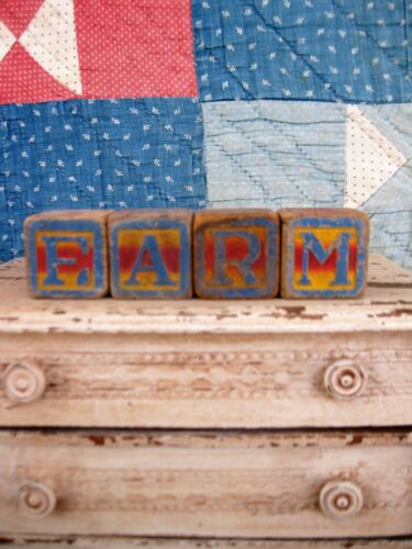 Early Antique Wood Toy Blocks Spell FARM