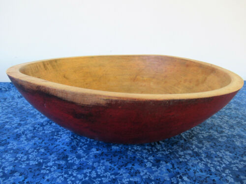 "Vintage Round Wood Bowl, Large 16"" Diameter Red Paint, Primitive Country"