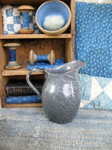 Unusually Small Gray Graniteware Pitcher