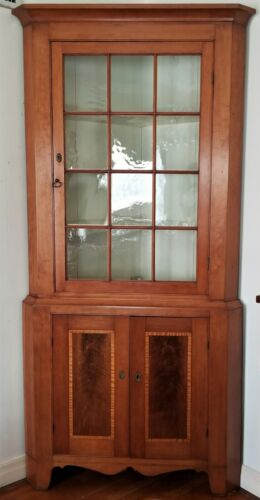 """CORNER CABINET, cupboard, cherry, tiger maple, inlaid, Neoclassical, PA, 88""""t"""