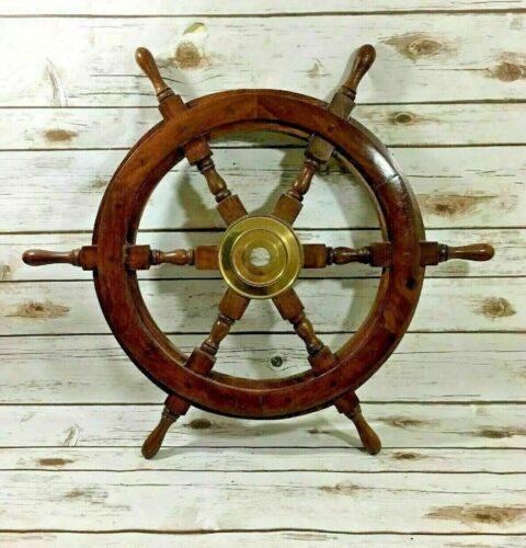 24 Inch Nautical Decor SHIP WHEEL Brass Wooden Ship Steering Wall Boat Vintage