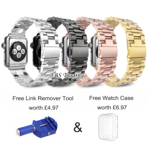Stainless Steel Strap for Apple Watch Series 6 SE 5 4 3 2 1 iWatch 38 40 42 44mm <br/> BRIT UK Shop - 1ST CLASS FAST POST