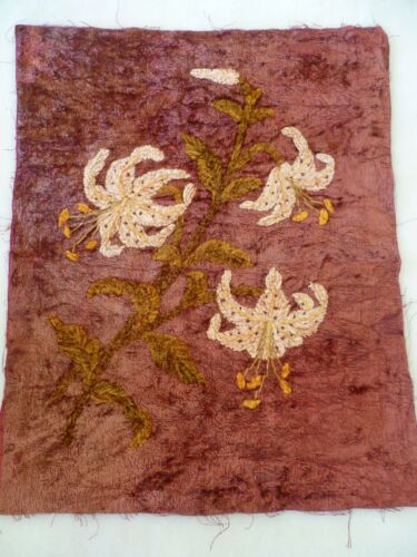 ANTIQUE VELVET WITH TIGER LILIES EMBROIDERED PANEL / CUSHION 47cms x 39 cms