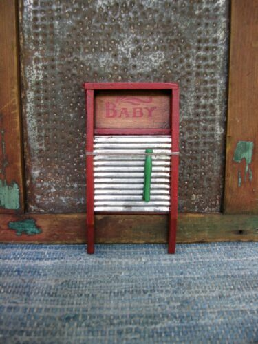 "Small Early Antique Wood & Tin Doll ""Baby"" Washboard Toy Red Milk Paint"