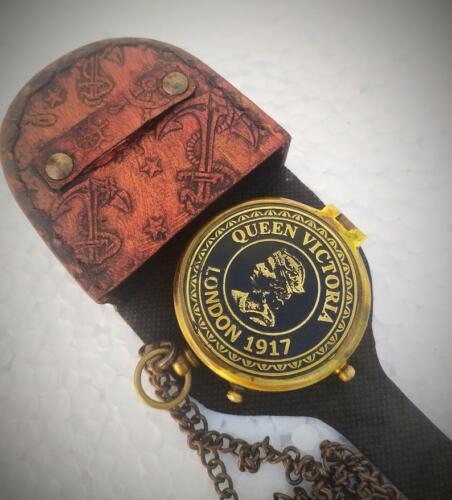 Brass Personalized Queen Victoria London 1917 Pocket Compass Engraved Compass
