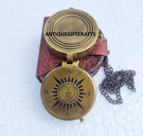 """Personalized Brass Compass Home is Wherever """", Camping Compass Engraved"""