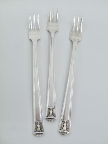 """3 Pcs Holmes and Edwards Century Cocktail Seafood Forks Silverplate 5 7/8"""""""