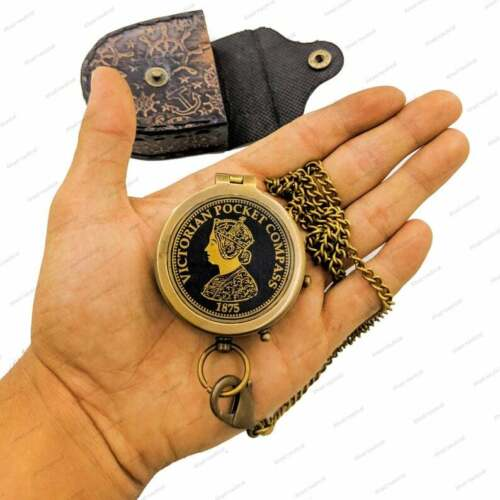 Nautical Pocket Compass, Victorian Pocket Compass, With carry Leather case,